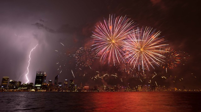 Using a remote cable to capture lightning and firework