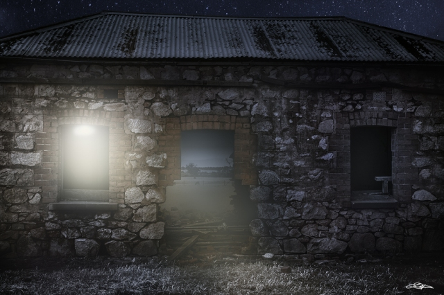 A night scene of an abandoned building