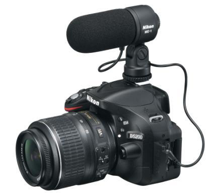 The Nikon D5200 Video setup  with a microphone attached