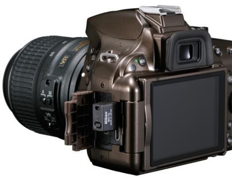 A rear view of the Nikon D5200 with Wifi Adapter
