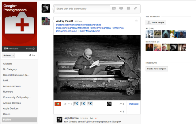 Google+ Photographers Community Screenshot