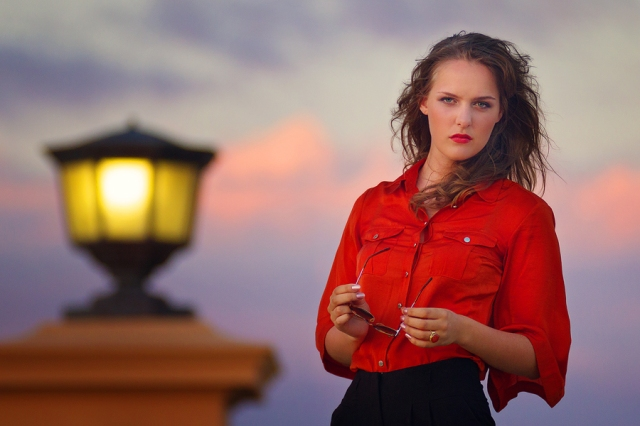 Model photographed at sunset