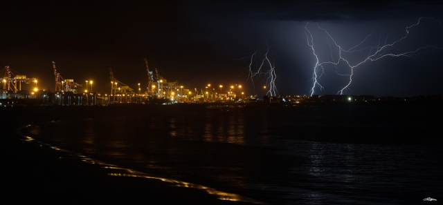 Lightning over the Port Of Fremantle